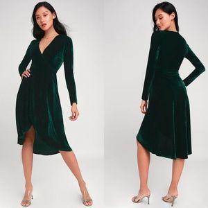 Lulu's Velvet Silver Screen Emerald Midi Dress